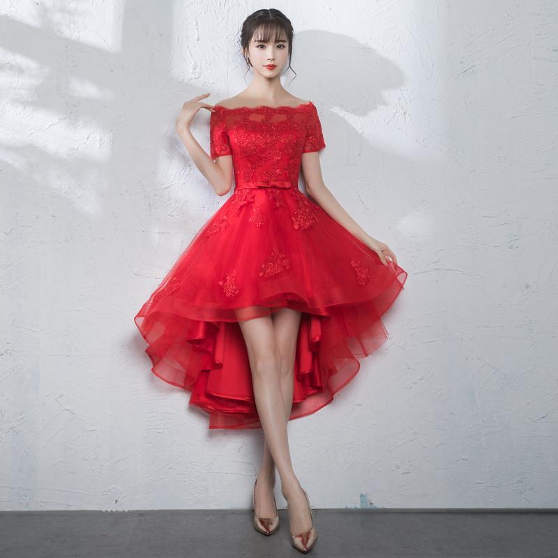 Neue Ankunft Dame Cocktailkleid Bateau Hallo-Lo Abendkleid Homecoming Kleider Frauen Prom Kleider Brautjungfer Kleid Silber Rot Farbe D04