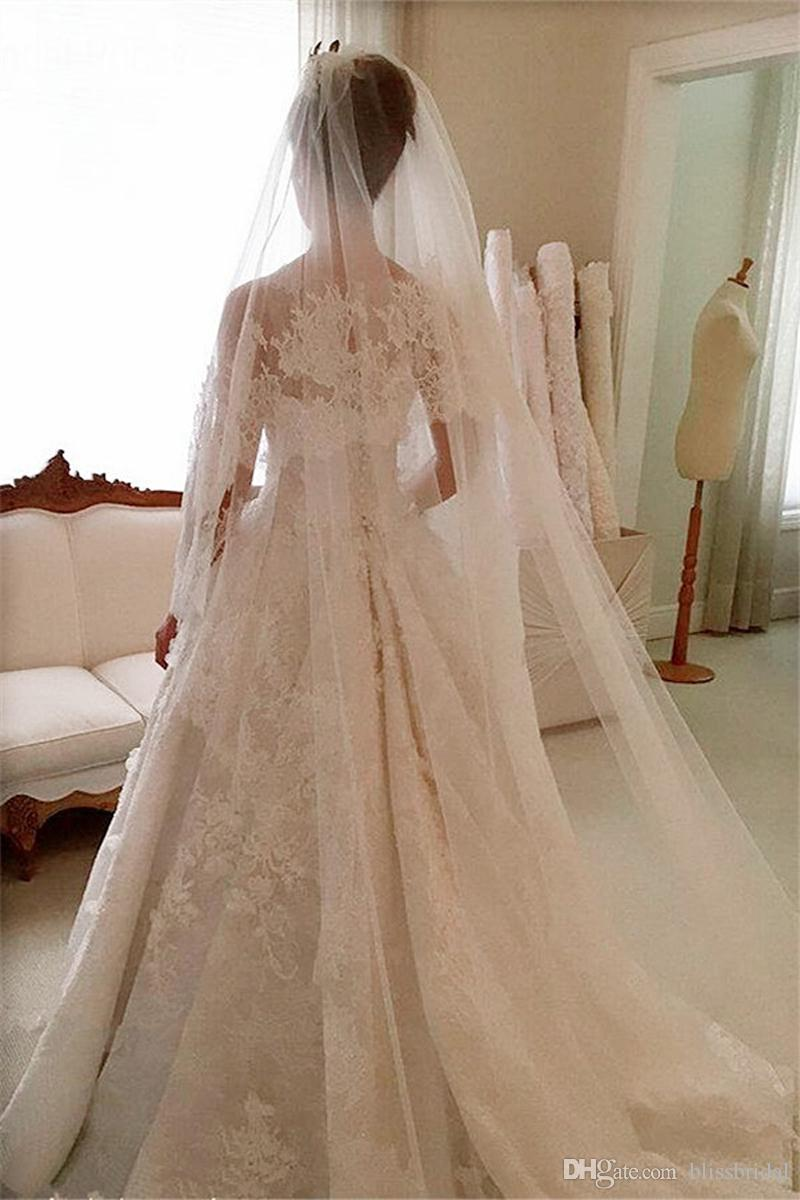 Beautiful Full Lace A-Line Wedding Dress Sheer Neck Sleeveless Applique Wedding Ball Gown Button Back Sweep Train Bridal's Wedding Dresses