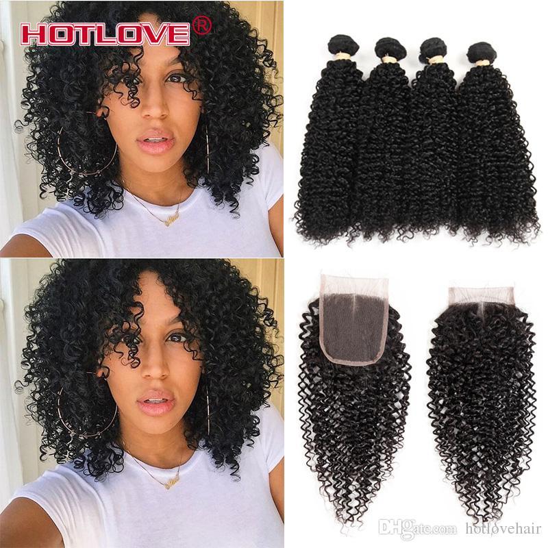 8A di buona qualità non trasformati 8A capelli ricci crespi afro indiani crespi 4 pacchi con chiusura in pizzo tessuto dei capelli umani capelli ricci india