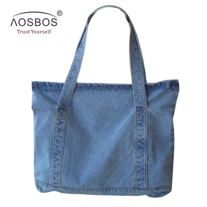 59ab5b0fb5 Aosbos Women Canvas Handbags Designer Ladies Denim Blue Shoulder ...