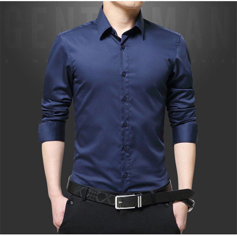 lo último 5da79 ac999 2018 nueva camisa de manga larga para hombres, negocios, jóvenes, negocios,  pulgada salvaje, camisa delgada para hombres DZH01
