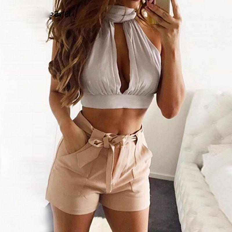 be47ffd58ea70 2016 Summer Back Lace Up Bow Knot Crop Top Pink Plunge High Neck ...