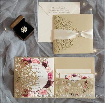 Weihnachtskarten Einladung.Luxry Hochzeit Kreative Dreifachgefaltete Laser Hohle Blumen Party Einladung Geburtstag Brautdusche Hochzeit Geschäfts Weihnachtskarten Einladung