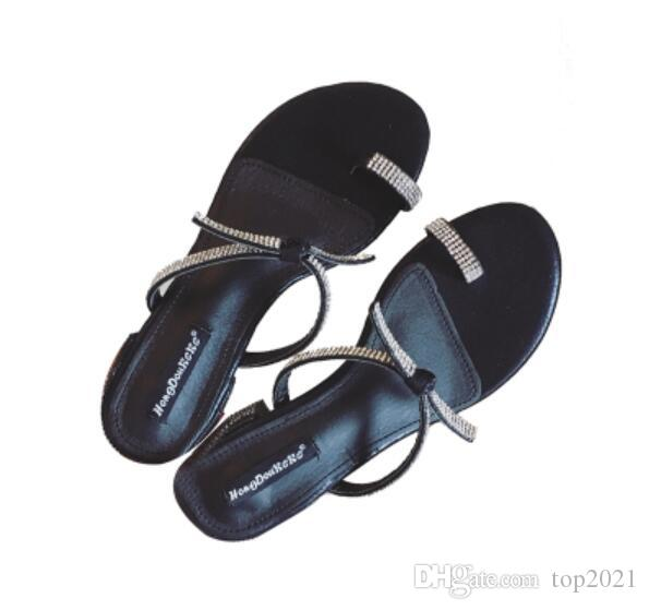 fca09d18c99e3 Women Summer Slippers Sexy Classic Luxury Cool Shine Rhinestone Genuine  Leather Fashion Brand Current Ladies Casual Beach Trip Slippers Cheap Shoes  For ...