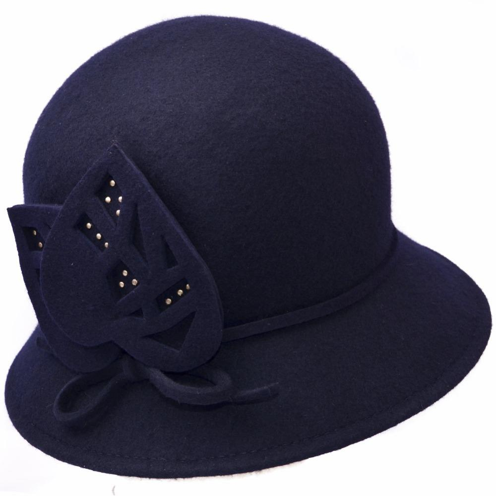 c3392f2792 Wool Felt Cloche With Cut Out Felt Trim   Rhinestones Women Winter 100%  Wool Hats Lady Party Formal Up Turn Brim W10 4390 Trilby Stetson Hats From  Playnice