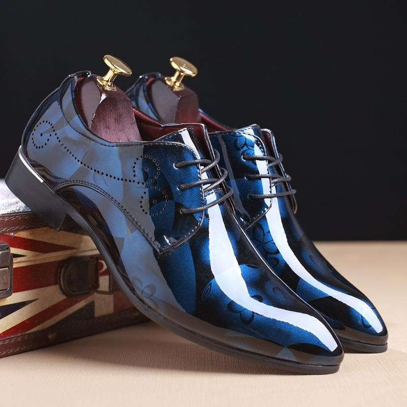 Autumn Mens Dress Pointed Toe Flowers Patent Leather Wedding Party Oxfords Shoes Lace Up Red Blue Green Male Fashion Oxfords Men's Shoes Formal Shoes