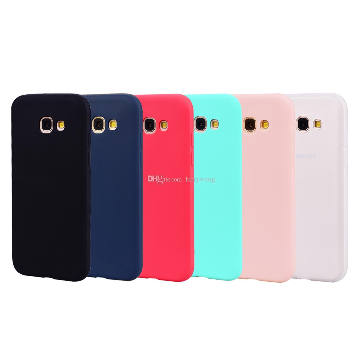 factory authentic c0db7 392c2 TPU Soft Silicone Gel Candy Color Phone Case for Samsung Galaxy A3 2017,A5  2017, Note 8,A7 2017,A8 2018,A8 Plus