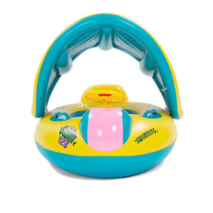 Safety Baby Swimming ring Inflatable baby swim pool toy Seat Boat Ring Swim Pool Sunshade Baby Swim Seat Float Boat C3988
