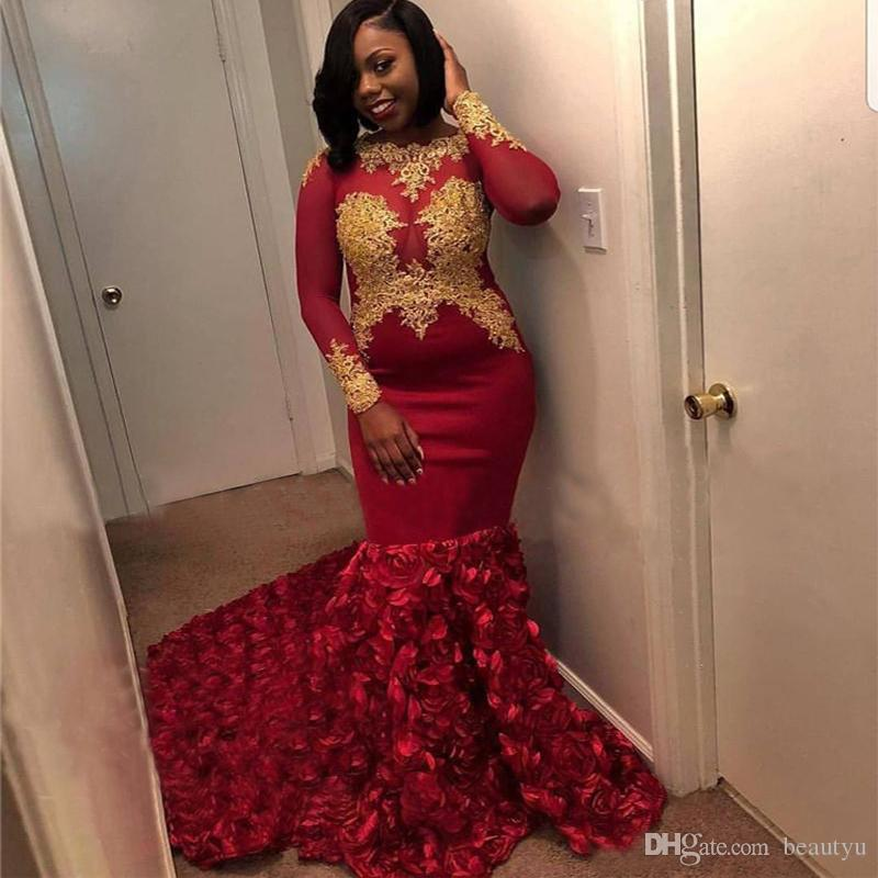 6f17dabc5dcc Gold Lace African Prom Dresses 2k18 Plus Size Sexy Mermaid Illusion Long  Sleeves Evening Dress Black Girl 2018 Red 3D Floral Pageant Gowns Good Prom  Dress ...