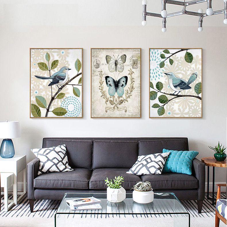 2018 rétro pays style peintures murales papillon inséparable roi oiseau Posters Toile Art Print Peinture Mur Photos Pour la décoration de la maison