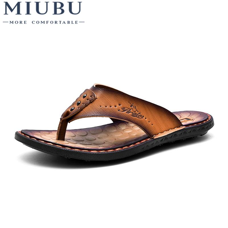 6c4c0c1ac 2019 MIUBU Summer Men Slippers Head Layer Cowhide Beach Shoes Chuck Leather Slippers  Men Sandals Flip Flops Causal Flats Shoes Online with $43.39/Pair on ...