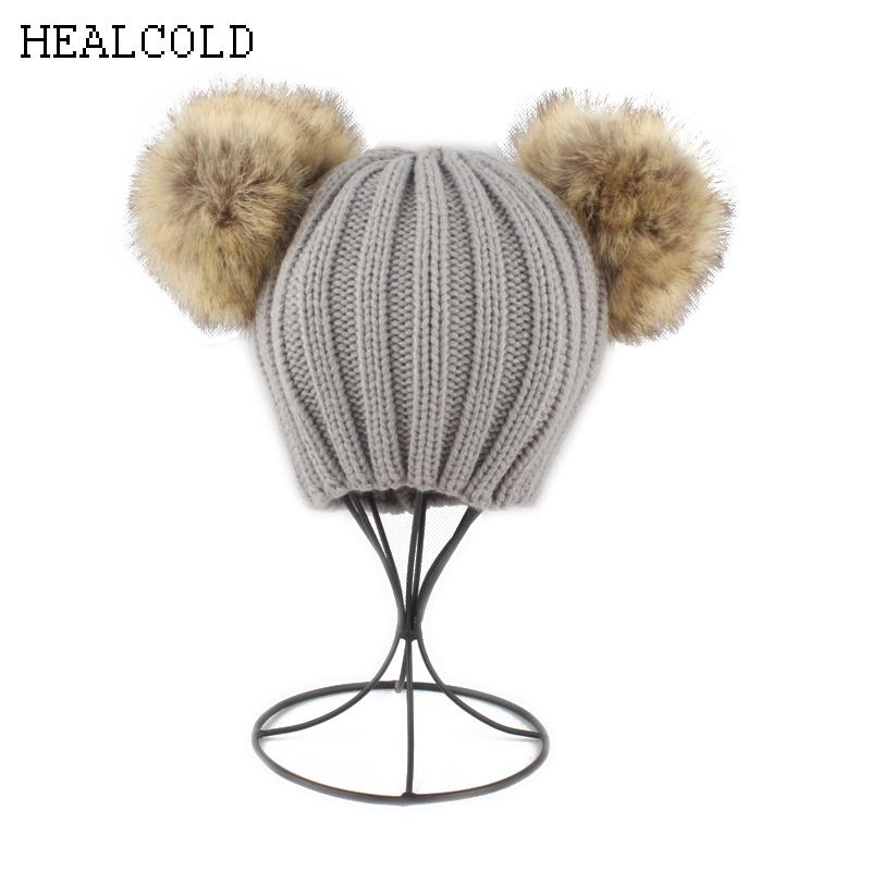 bd49c5b0df1 2019 Winter Warm Knitted Beanies Hats For Kids Double Fur Pompom Hat For  Girls Boys Pom Pom Beanie Cap From Alexandr