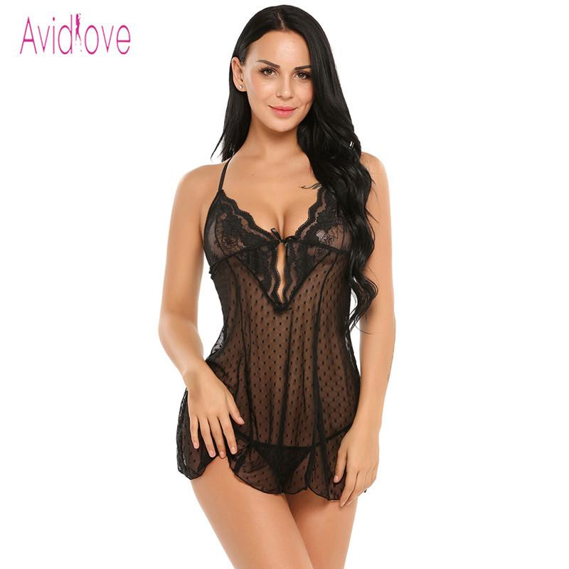 20bfab8ff4b Avidlove Lingerie Sexy Erotic Hot BodyDoll Dress Women Sexy Nightwear See  Through Lace Sleepwear Erotica Adult Sex Products Y1890305 Bras And Panties  Garter ...