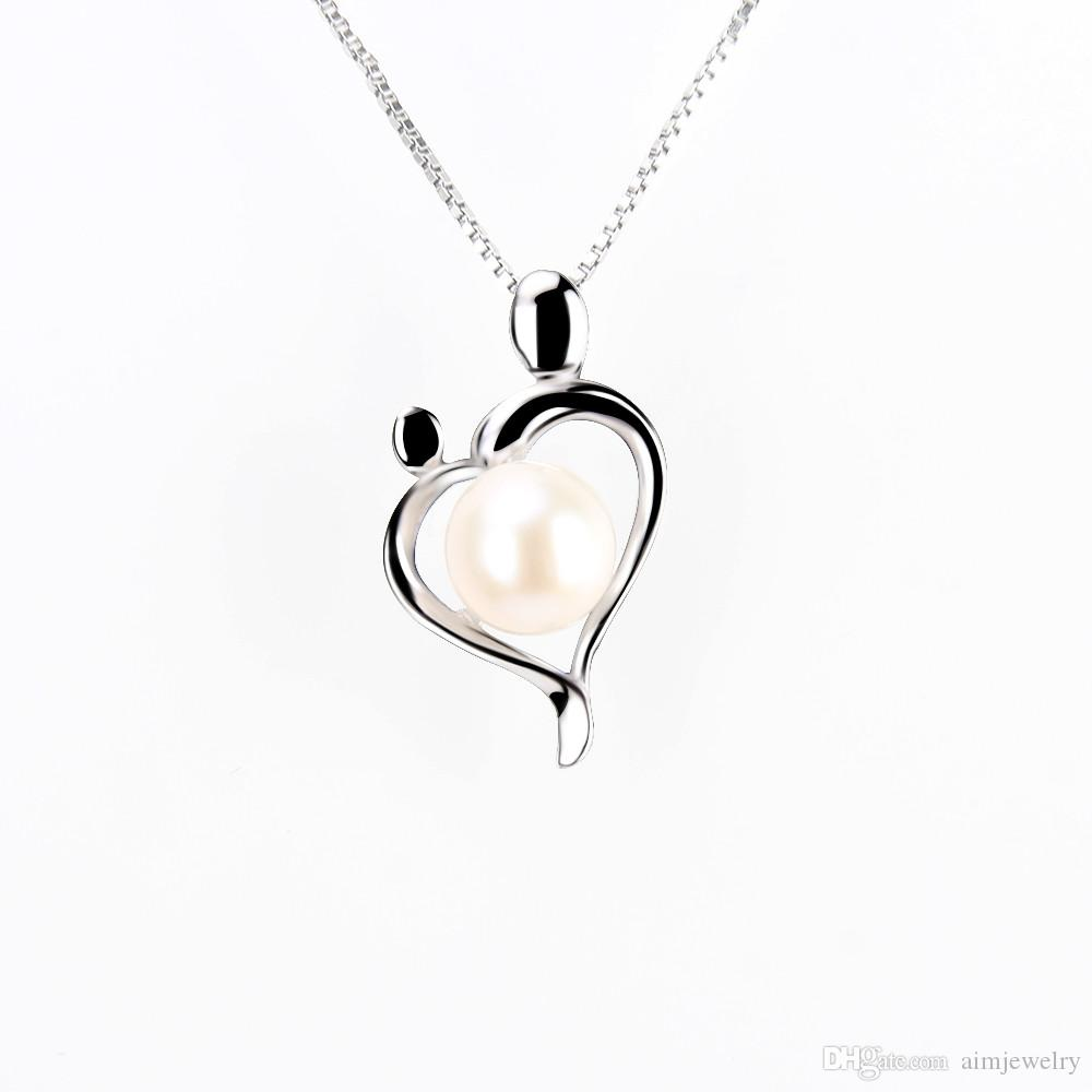 b6e46630693c4 Akoya Round Pearl Necklace Pendant In Real 925 Sterling Silver Simple Heart  Shape Jewelry For Your Deep Love