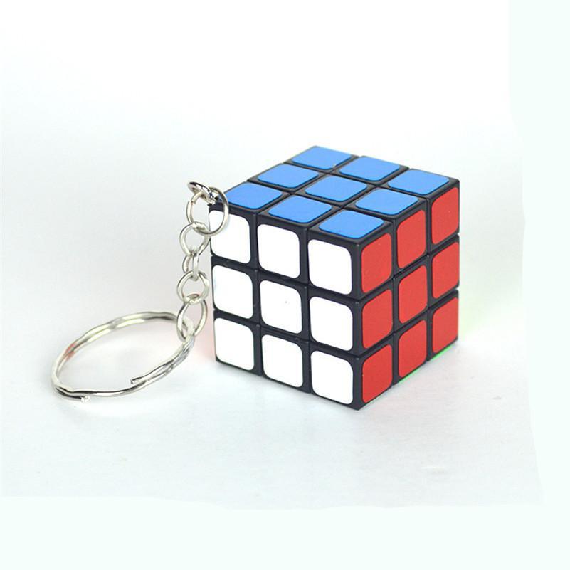 Hohe Qualität 3 CM Kunststoff ABS Mini 3x3x3 Zauberwürfel Puzzle Aufkleber mit Schlüsselanhänger Ring Opp Beutel Packakge IQ Spielzeug Geschenk