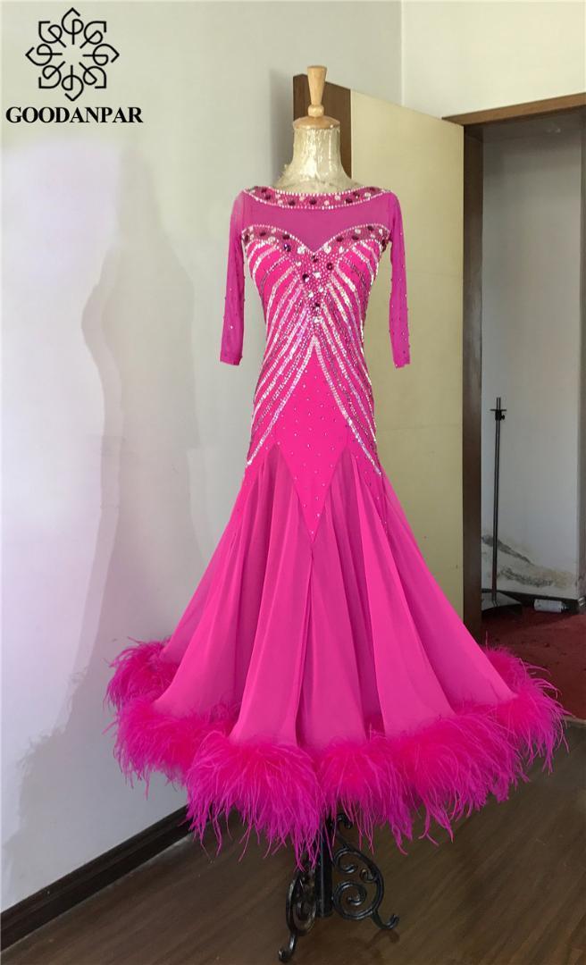 a60db6d3fea1 2019 GOODANPAR Ballroom Dance Standard Women Girls Ostrich Feather Ballroom  Dress For Dancing Waltz Flamenco Tango Stage Dance Wear From Hongkonglady,  ...