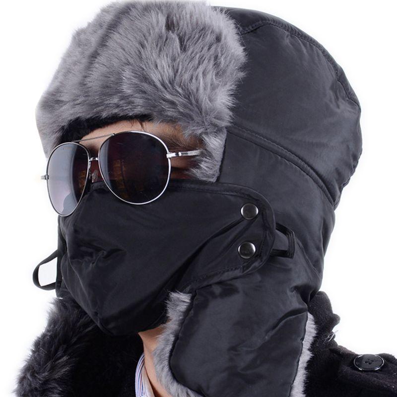 cd32f521b50a3 High Quality Women Bomber Hats Ushanka Winter Outdoor Russian Winter Hats  For Men Waterproof Warm Fur Hat Men s Fur Trapper
