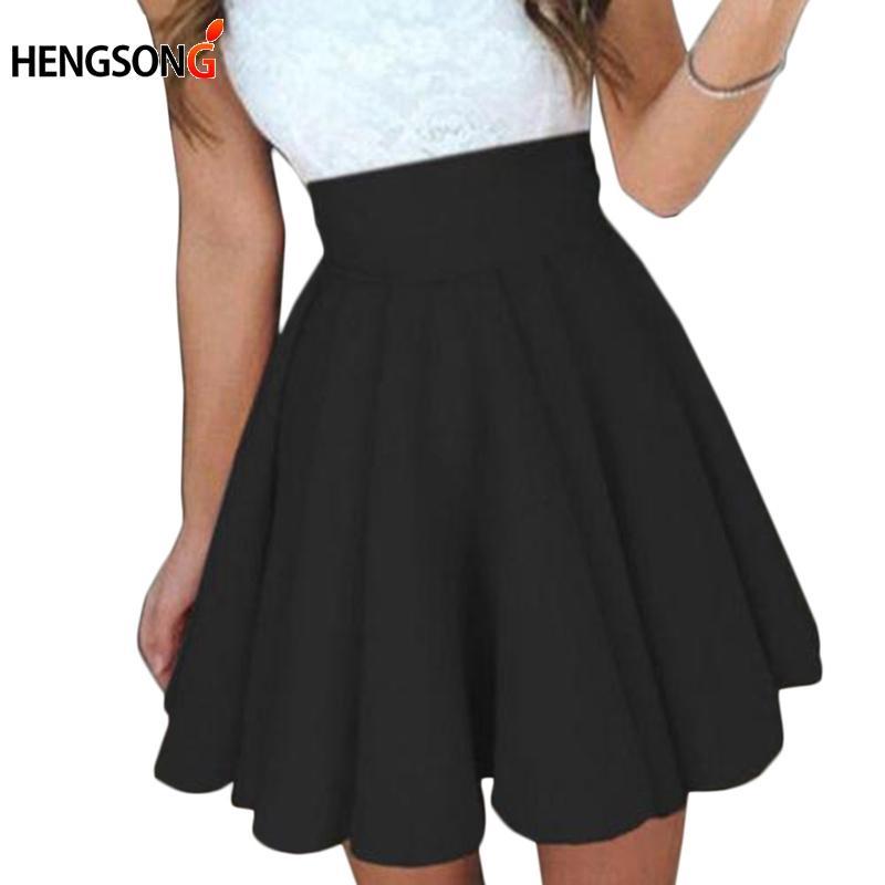 1245c3b00 Falda de tenis plisada para mujeres 2018 Todas las estaciones Falda escolar  Faldas de baile de las mujeres Vestido de fiesta Puff Corto Negro