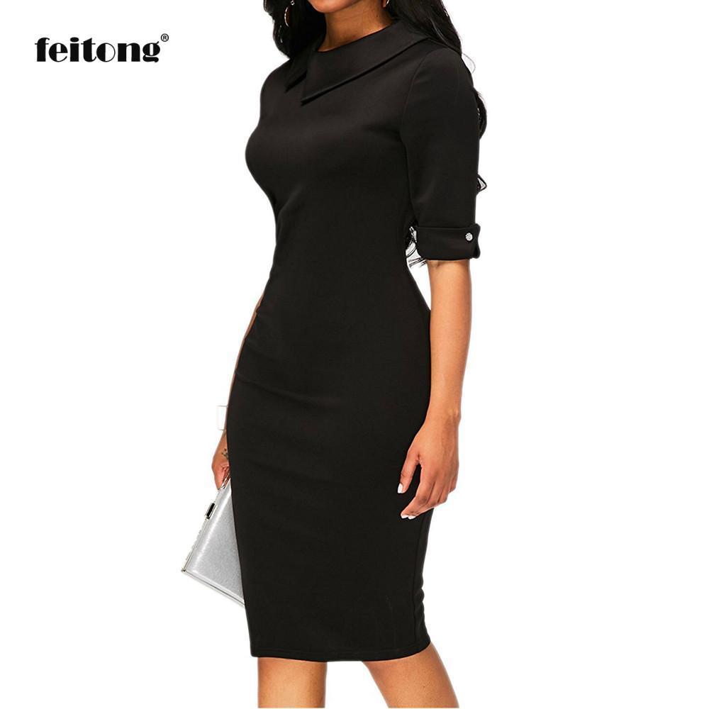 be954b75c Compre Mujeres Retro Bodycon Debajo De La Rodilla Vestido De Oficina Formal  Vestido De Lápiz Con Cremallera Trasera Robe Longue Femme Ete A  43.98 Del  ...