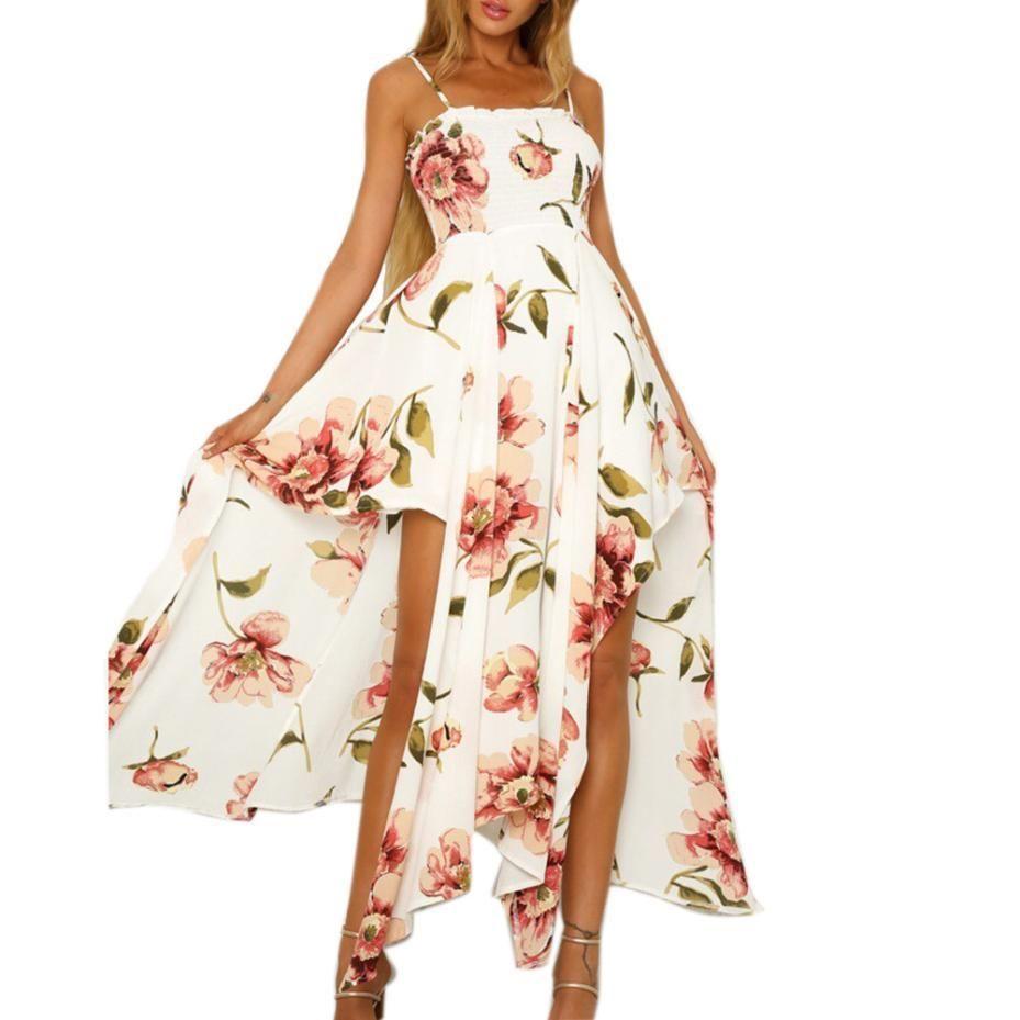 e29b40b899f Women Summer Dress Elegant Sleeveless Sling Handkerchief Hem Dresses  Strapless Long Floral Beach Dress  VE Sleeved Dresses For Juniors Women  Clothing ...