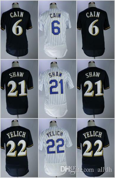 online store 7455b 7b6d2 Men's 6 Lorenzo Cain Jersey 21 Travis Shaw 22 Christian Yelich Cool Base  Milwaukee Baseball Jerseys White Blue Flexbase Stitched