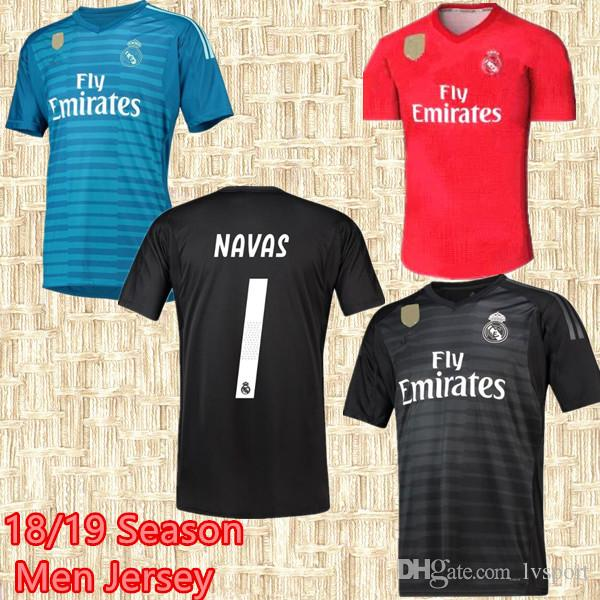 02b9b182e 2018 2019 Real Madrid Goalkeeper Soccer Jersey Navas Modric Ramos Marcelo  Bale Isco Camiseta 18 19 Real Madrid Gk Courtois Football Shirts From  Lvsport