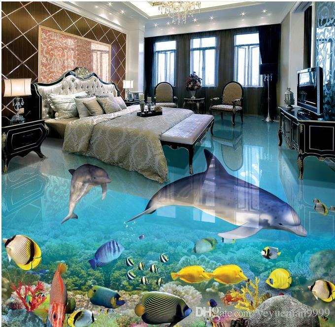 Grosshandel 3d Boden Wandbilder Tapete Delfin Wohnzimmer Schlafzimmer