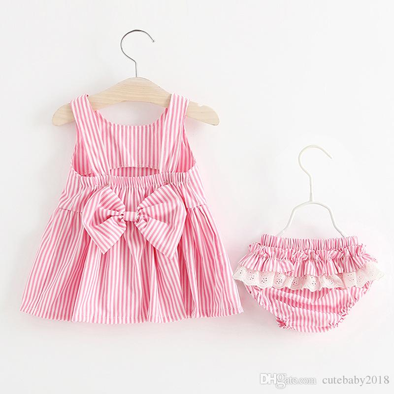 f9c671ea8bc Compre Diseñador Baby Dresses + Underwear 2018 Recién Llegado De Verano  Kids Baby Girls Vestido De La Raya Del Bebé Ropa Para Recién Nacidos  Vestido De Bebe ...