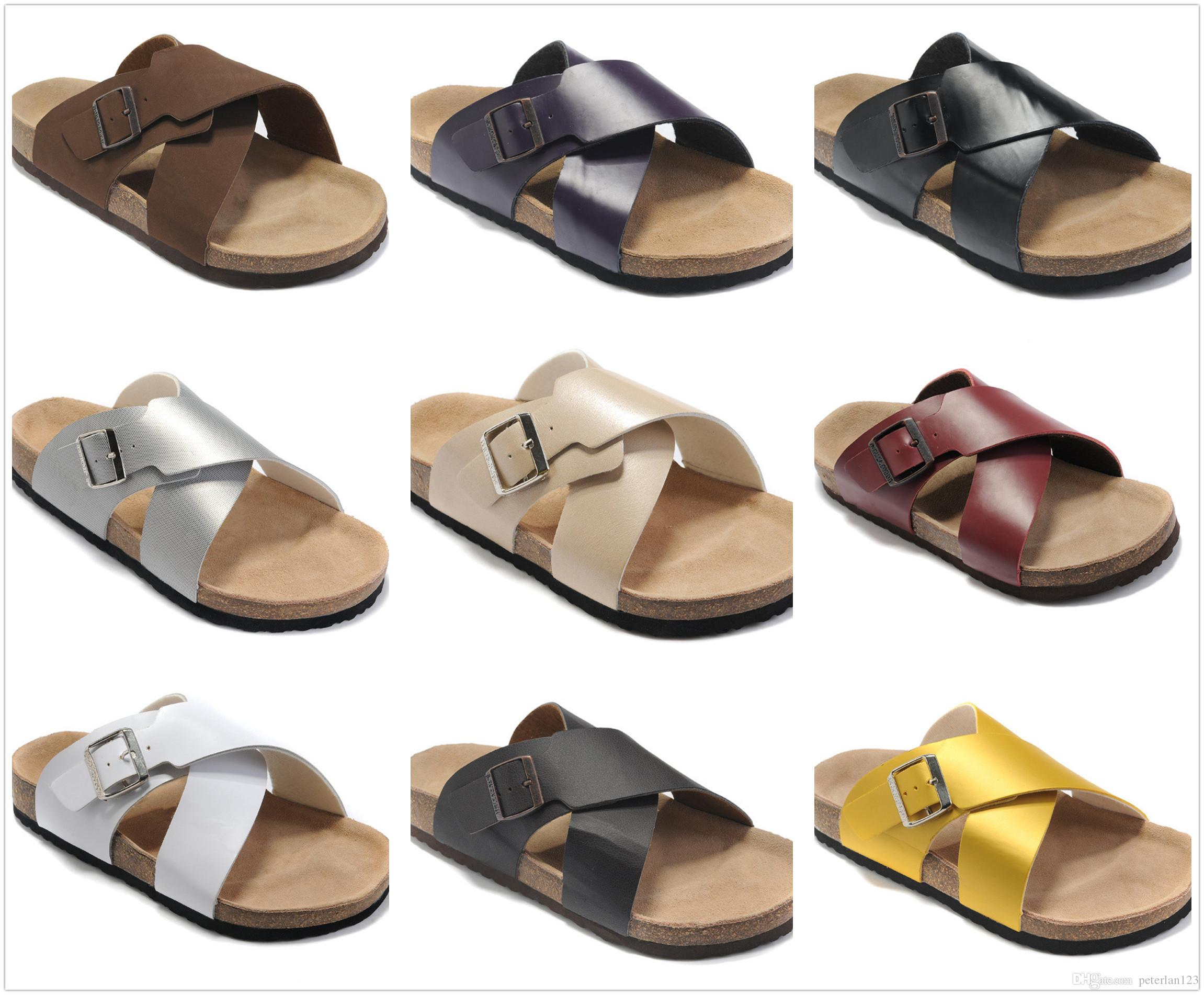 6765a1a7d X Style Colorful Famous Brand Arizona Men S Flat Heel Sandals Women  Classcis Summer Casual Shoes With Buckle High Quality Genuine Leather Sl  Boots Shoes ...