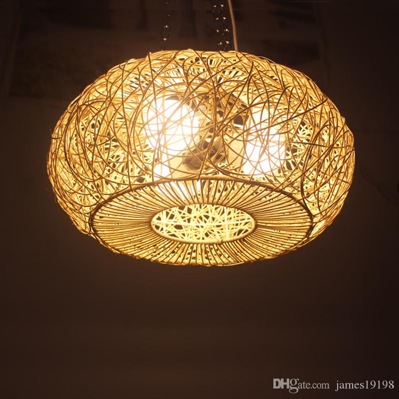 Modern LED round Rattan pendant lamp Art Deco e27 Pendant Light Hand Knitted Weaving Hanging lamp For Parlor Study Hotel G033