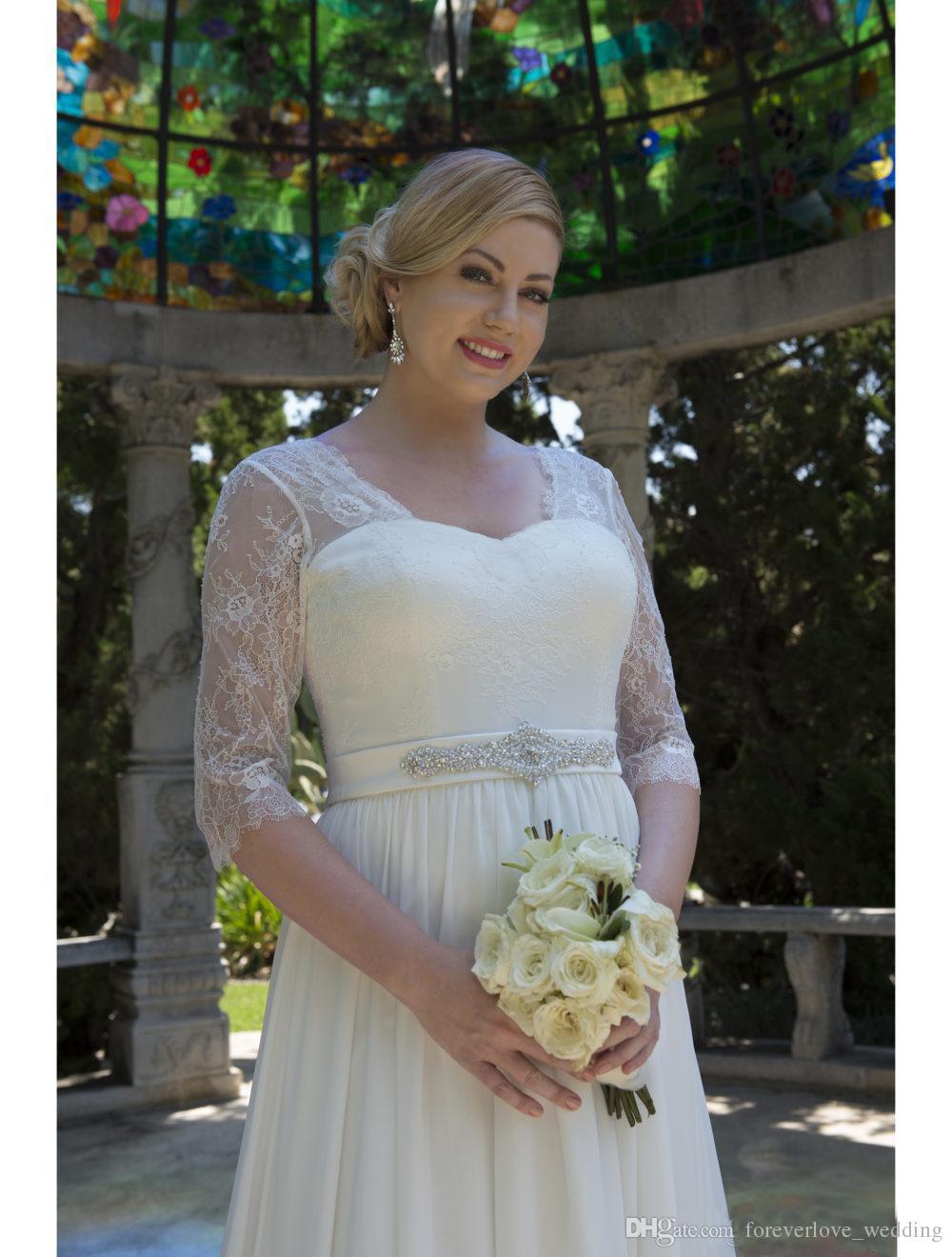 Cheap Country Style Half Sleeve Wedding Dresses 2018 Sexy Backless A-Line Beaded Sash Sweep Train Chiffon Boho Beach Wedding Bridal Gowns