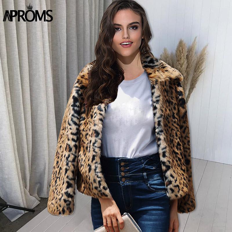 9b9d234349c 2019 Wholesale Elegant Brown Leopard Faux Fur Coat Women 2018 Winter Thick  Warm Outwear Coats Plus Size Autumn Casual Fluffy Overcoat From  Mingclothes001