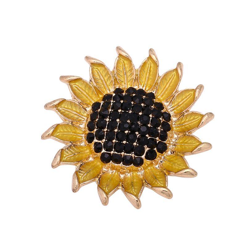 Fashion Cheap Snap Button 18mm Yellow Sunflower DIY Necklace Bracelet Accessory