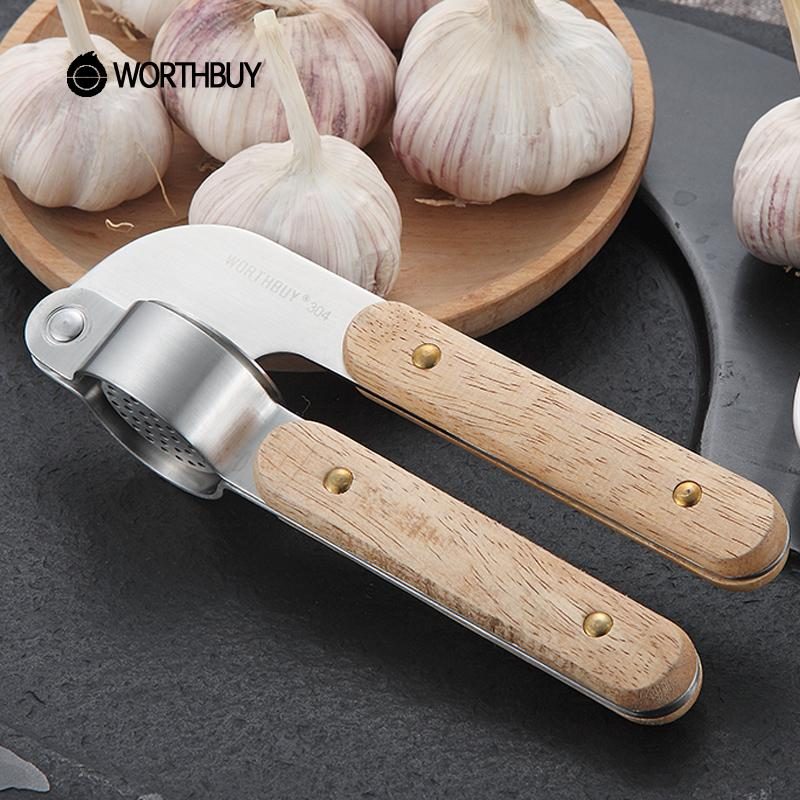 Worthbuy 304 Stainless Steel Garlic Presses Slicer Rubber Wooden Handle Garlic Crusher Fruit Vegetable Tools Kitchen Accessories