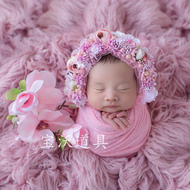 a07952f65dc 2019 Pink Baby Girl Flower Hat Handmade Newborn Floral Bonnt Props Girls  Flower Bonnet Lovely Infant Cap Studio Photography Props From Photo props