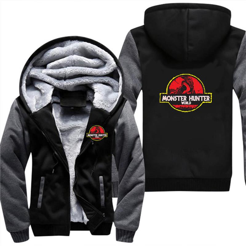 Monster Hunter World Hoodies And Sweatshirts 5XL Cool And Fashion Clothes  Zipper Winter Super Thick Sweatshirts Coat