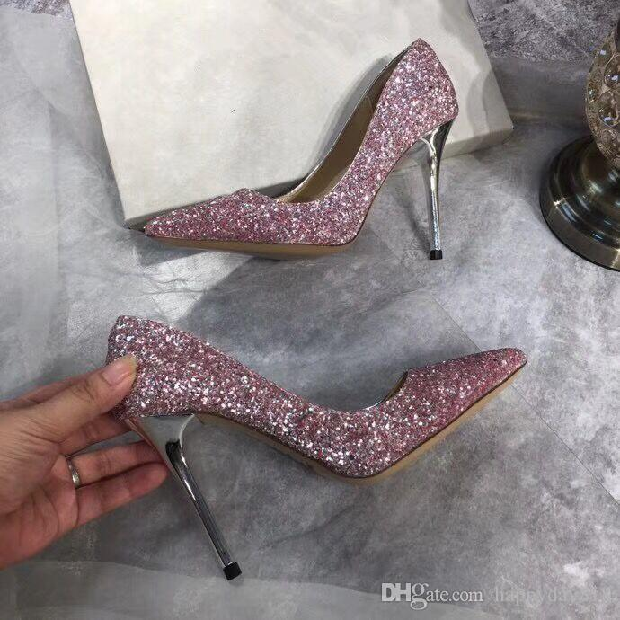faf08d1124 Free shipping Fashion women Casual Designer lady pink Glitter real leather  new pointy toe flats pumps shoes praty shoes bride shoes 10cm