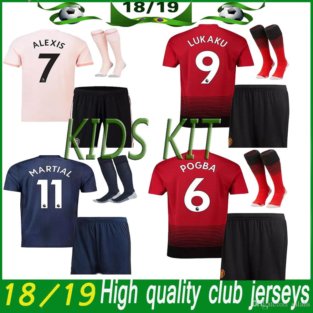 29afbd0a6 2019 Man Utd Kids Kit Soccer Jersey 18 19 Man Utd Home Red Kit Away 3rd Kit  Soccer Shirt POGBA RASHFORD Child Kits Football Jersey+Pants+Socks From  Salahs