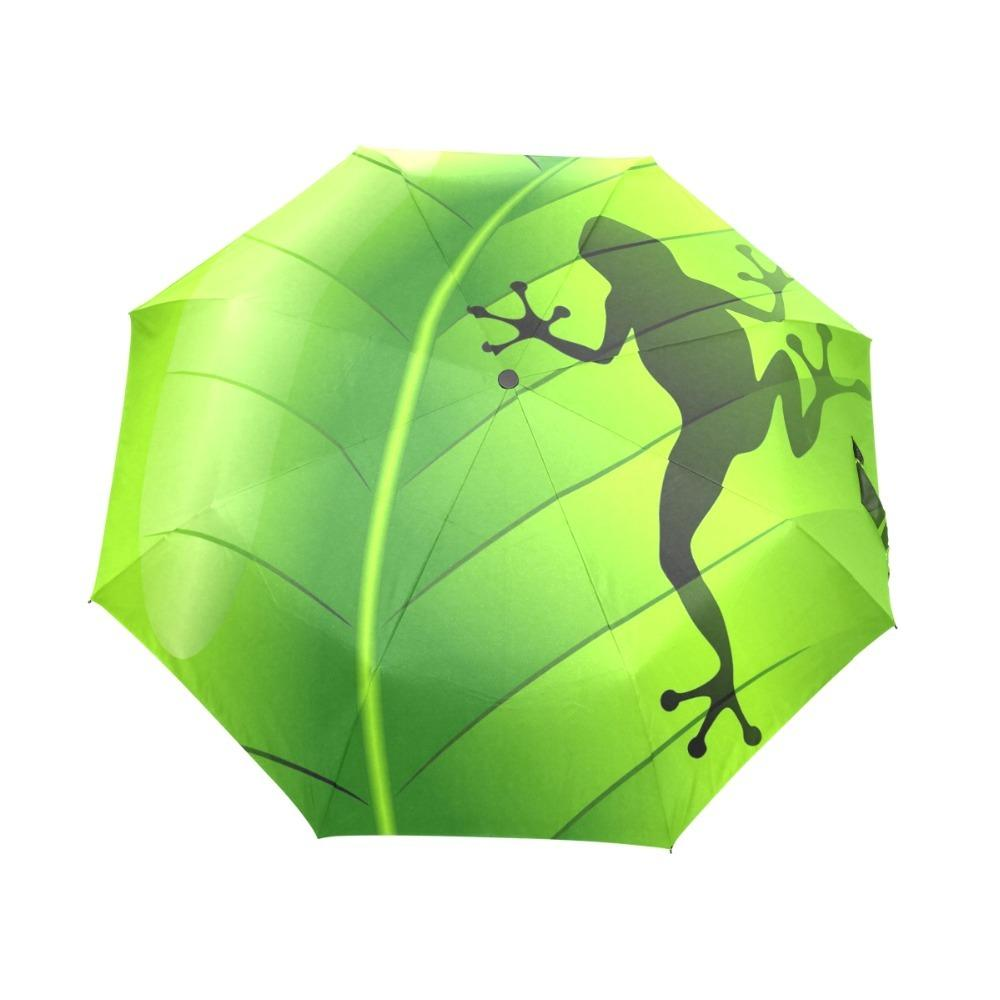 Fantasy Frog Rain Women Umbrella 3 Folding Automatic Umbrella Anti-UV Sun/Rain Umbrella Parasol Cute Paraguas Green Sombrinha