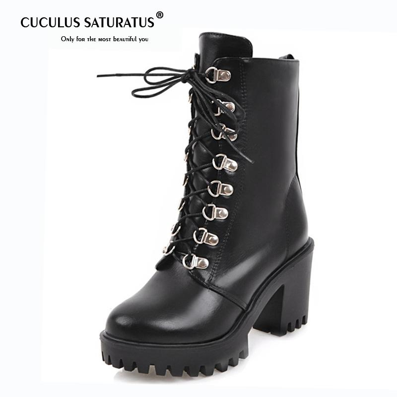 18247c750e0 Cuculus Big Size 34 43 High Heels Shoes Woman Motorcycle Boots Female  Fashion Platform Boots In Spring Autumn Hot Sale 1510 Mens Dress Boots  Green Boots ...