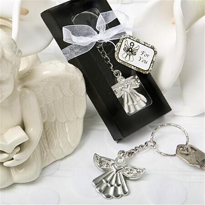 Cheap Wedding Party Souvenir Guardian Angel Key Ring Silver Keychain