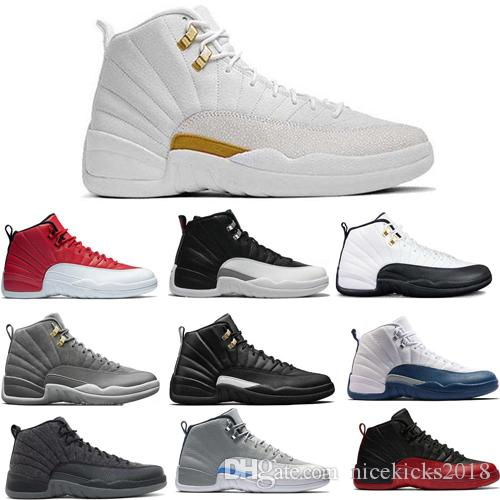 eb33d3fa68878a Nice Men 12 12s Basketball Shoes New Men Motosports Blue Alternate 89 Pure  Money White Cement Royalty Bred Fire Red Black Cat Oreo Sneakers Kids  Basketball ...