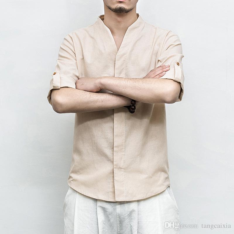Camisa de lino de algodón para hombres, botón de manga corta casual, cuello en v tradicional, camisa homme 5XL, envío gratuito al por mayor