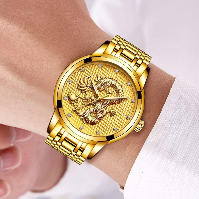 04947e3d23b Compre Relogio Masculino Genuine LIGE Mens Relógios Top Marca De Luxo De  Ouro Escultura Dragão Relógio De Quartzo Homens De Aço Completa Relógio De  Pulso + ...
