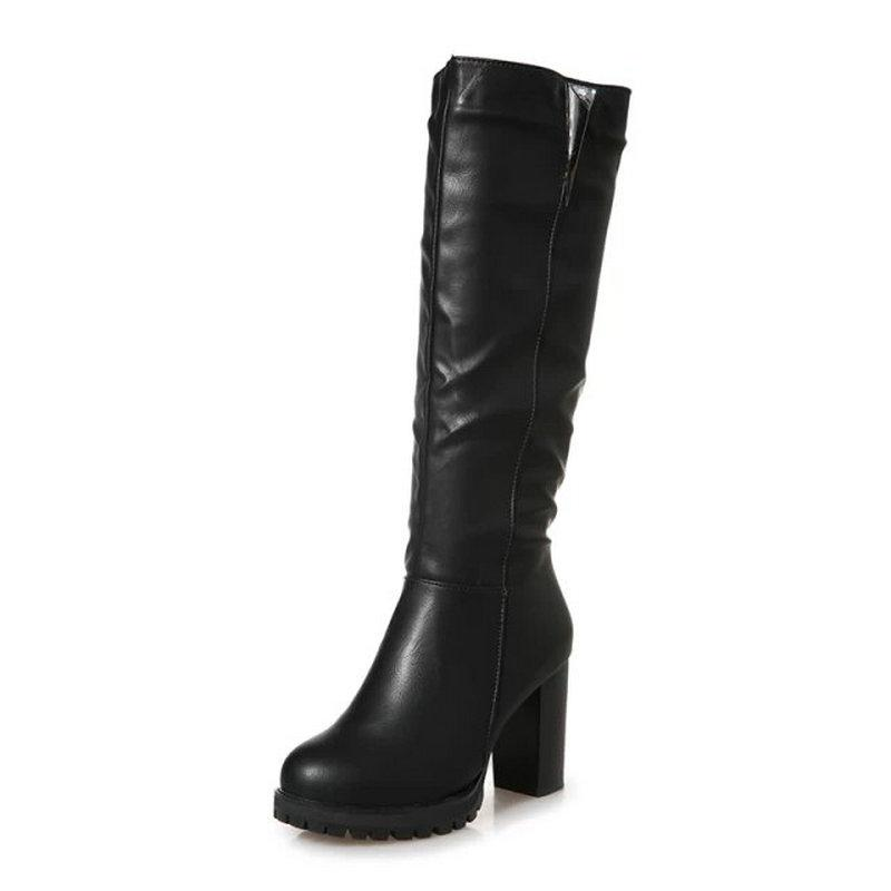 c84cde5c9 Female Round Toes PU Leather Mid Calf Boots Women Zips Shoes Lady Metal  Decoration Winter Dress Boot Woman 8.5CM Heels Shoe Girls Boots Black Ankle  Boots ...