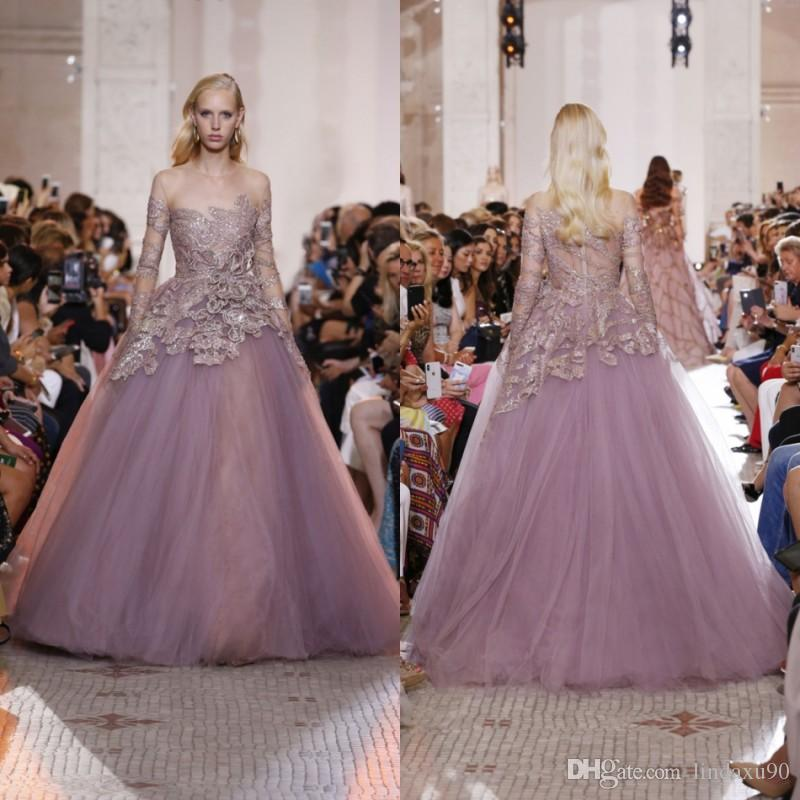 91d8b09154 Elie Saab 2019 Tulle Long Sleeve Prom Dresses Light Purple Lace Beads  Illusion Neck Formal Evening Gowns Sweep Train Pageant Party Dress Sequin Prom  Dress ...