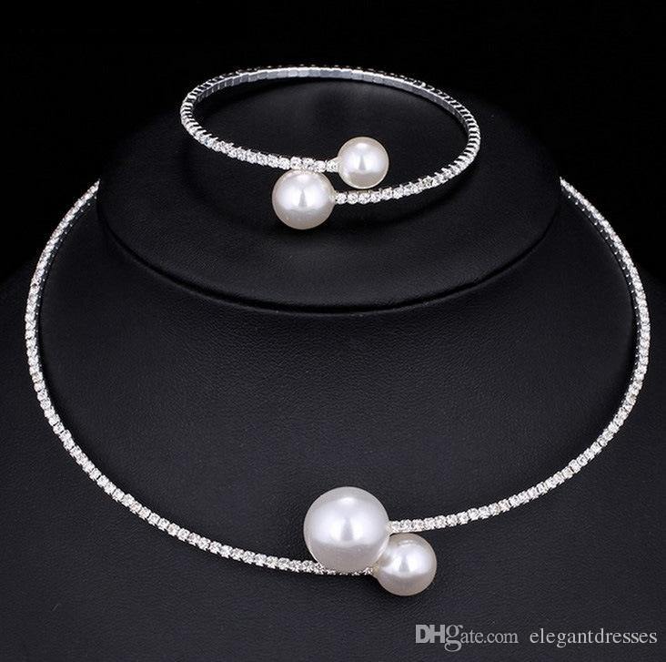 Billig Verkauf Brauthalsketten und Armbänder Zubehör Brautschmuck Sets Strass Formal Brides Zubehör Armbänder Cuffs