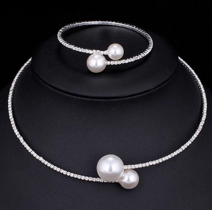Venta barata collar nupcial y accesorios de pulseras conjuntos de joyería nupcial Rhinestone formal novias accesorios brazaletes puños