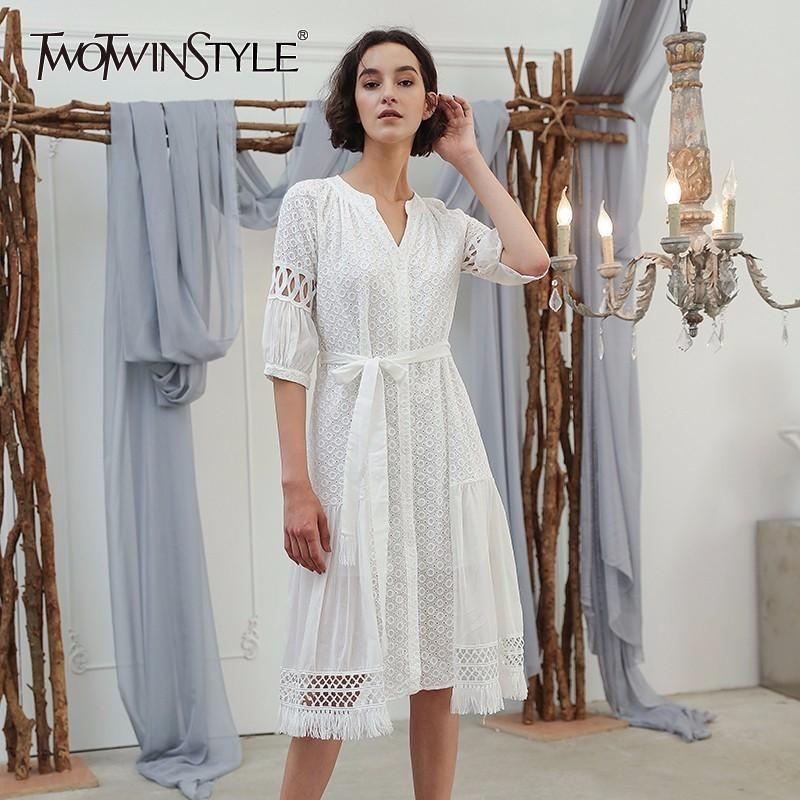 68de46c7990 TWOTWINSTYLE Hollow Out Lace Sexy Casual Shirt Dresses Women Lace Up ...