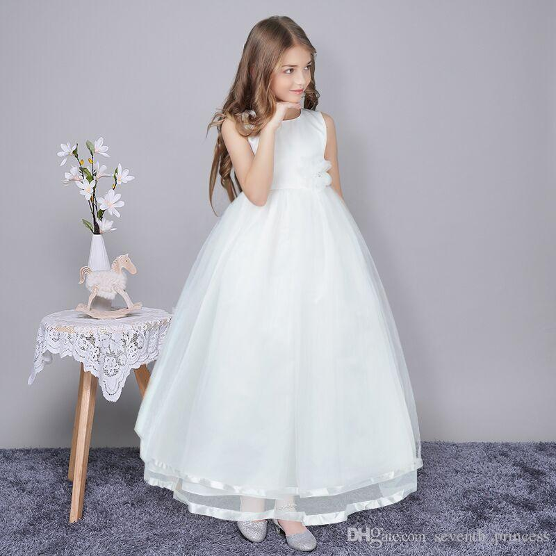 375c0bde4 Wholesale High Quality Ankle-Length Flower Girls Dress With Ribbon ...